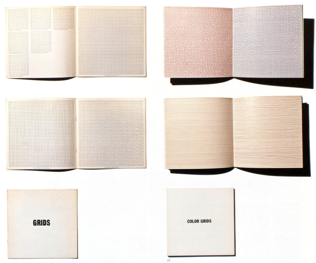 Artists' book: Sol LeWitt. left: Grids, Using All Combinations of Straight, not Straight, Not-Straight and Broken Lines. Brussels: Pour écrire la liberté, 1975,. (25 x 25 cm, 8pp., Edition of 1500) right: Color Grids. New York : Multiples, INc., and Combes, France: Générations, 1977 (20 x 20 cm, 36pp.)