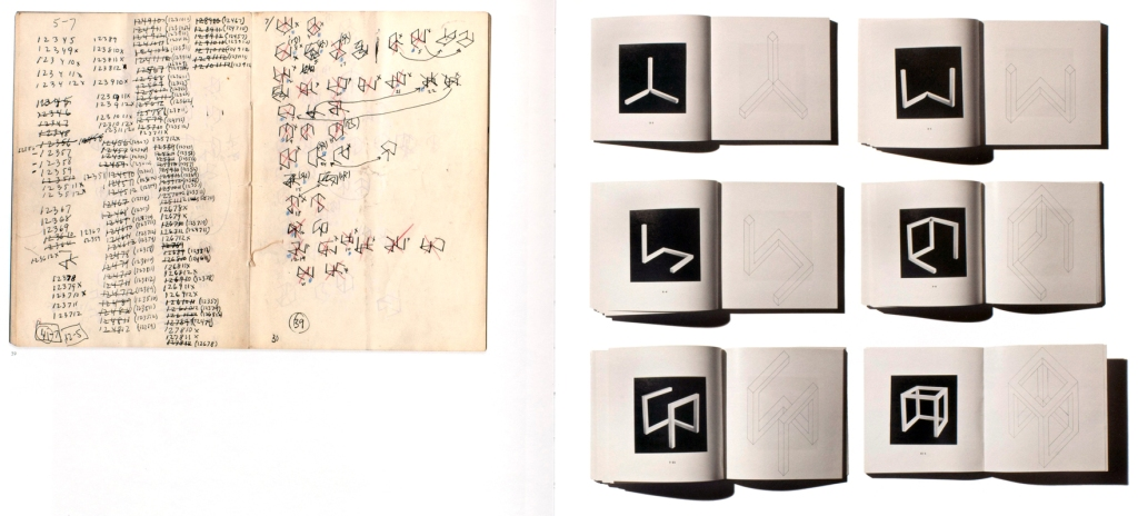 Left: Spread from a LeWitt notebook depicting calculations and scetches for Incomplete Open Cubes, 1974 (LeWitt Collection, Chester, Conneticut), right: Incomplete Open Cubes (New York: John Weber Gallery, 1974)