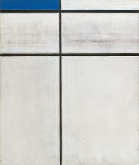Piet Mondrian, Komposition mit Doppellinie und Blau, 1934 (unvollendet), mumok museum moderner kunst stiftung ludwig wien, Foto: mumok, © Mondrian/Holzman Trust c/o HCR International, Warrenton VA
