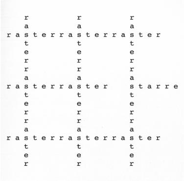 Timm Ulrichs, raster – starre, 1963/2012 Maße variabel, Plott auf Wand