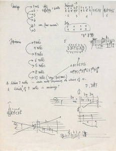 Manuscript from John Cage, Electra, 1973