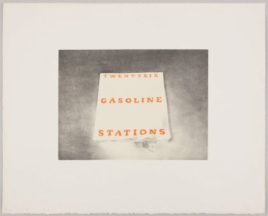 ED RUSCHA. Twentysix Gasoline Stations, 1970 Lithograph on white Arches paper; torn and deckle edges. 16 x 20 inches (40.6 x 50.8 cm) Ed. of 30