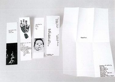 Ankündigung für Grapefruit, 1964, Briefumschlag, vier Blätter Papier. Unterschiedliche Größen