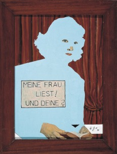 """Büttner prägte in den 80er Jahren die Kunstszene: """"Meine Frau liest und Deine?"""", 1993, mit Öl übermalte Laienarbeit auf Holz, 46 x 32 cm, Sammlung Falckenberg. (© Werner Büttner/Foto: Egbert Haneke)"""