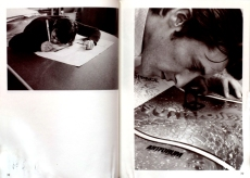 Jerry McMillan: left: Ed signing prints with a giant pencil at Tamaring, 1969. right: Ed checking press proof of his Surrealism cover for Artforum, 1966