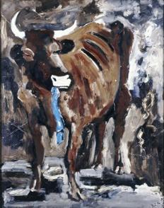 Werner Büttner: Die Kuh, die den blauen Pullover gefressen hat, 1983