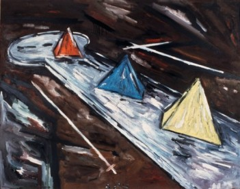 """Werner Büttner """"Die Probleme des Minigolfs in der europäischen Malerei Nr. 4"""", 1982, Privatsammlung (Courtesy Galerie Max Hetzler), © Werner Büttner, Foto: Harro Wolter"""