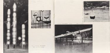 Interior spread from Gutai 3. Installation views of Experimental Outdoor Exhibition of Modern Art to Challenge the Midsummer Sun; far left: Yoshihara Jirō, Light Art (1955); far right: Motonaga Sadamasa, Liquid: Red (1955). © The former members of the Gutai Art Association, photo by Kristopher McKay
