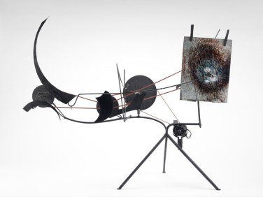 "Jean Tinguely, Metamatic No. 9, 1958, Round rubber belt, steel rods, painted sheet metal, wire wooden pulleys, two clothes pins and electric motor, 35-1/2 x 56-5/8 x 14 1/4"". Museum of Fine Arts, Houston. Gift of D. and J. de Menil"