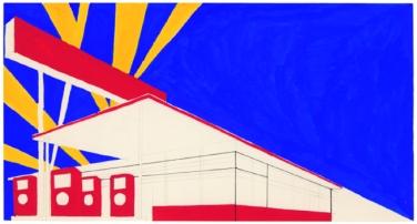Ed Ruscha. Standard Study # 2, 1962, Deckende Wasserfarbe, Feder in schwarzer Tinte und Graphit auf PapierSheet: 5 3/8 x 10 1/8 in. (13,7 x 25,7 cm), Whitney Museum of American Art, New York; gift of the American Contemporary Art Foundation, Inc., Leonard A. Lauder, © Ed Ruscha