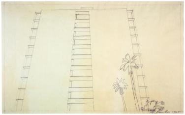Ed Ruscha, Study for Doheny Drive Apartment Building, 1965Bleistift auf Transparentpapier14 9/16 x 23 1/4 in. (37,9 x 59,3 cm)Kupferstichkabinett, Kunstmuseum Basel© Ed Ruscha
