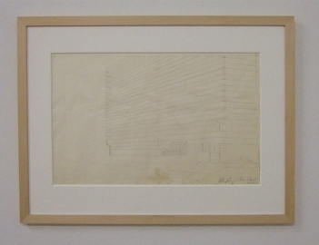 Ed Ruscha, Study for Unidentified Apartment Building, 1965. Pencil on transparent paper. Kunstmuseum Basel, Kupferstichkabinett, Inv. 2011.159 (Foto: Marlene Obermayer)