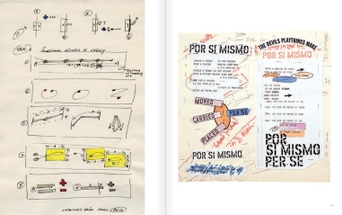 "Selection from the catalogue 'WRITTEN ON THE WIND. Lawrence Weiner Drawings"", pages 28 and 29"