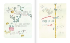 """Selection from the catalogue 'WRITTEN ON THE WIND. Lawrence Weiner Drawings"""", pages 50 and 51"""