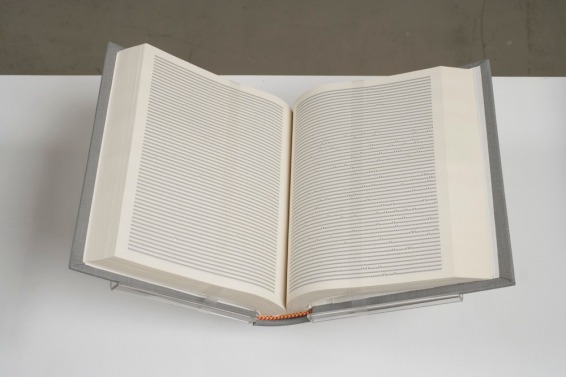 Tauba Auerbach, Alphabetized Bible 2006 Laser printed pages, cloth bound book, gold foil 8 x 6 x 1.5 inches closed (20.3 x 15.2 x 3.8 cm closed)
