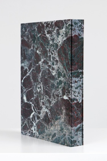 Tauba Auerbach, Marble 2011 Digital offset printing, Mohawk superfine paper, 55 pages, hand painted edges 17.25 x 13 x 2 inches 43.8 x 33 x 5.1 cm. Binding construction by Daniel Kelm and Leah H. Purcell.
