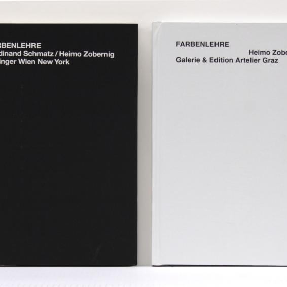 """Sonderausgabe Ferdinand Schmatz / Heimo Zobernig """"Farbenlehre"""" Springer Verlag, Wien-New York, 1995 Heimo Zobernig """"Farbenlehre"""" Galerie & Edition Artelier Graz, 2000 im Schuber, 32,2 x 22,2 x 5,2 cm Auflage: 100 Exemplare, num. Hrsg. Edition Artelier, Graz 2000"""