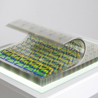 (11.81 x 15.74 x 1.18 inches), 100 sheets of 250 microns Lexan, 4 color silkscreen, PVC stab binding, Clear plexiglas wave