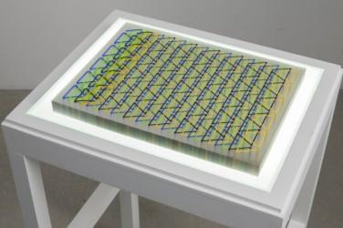 Tauba Auerbach, Stab/Ghost, 2013 Format: 30 x 40 x 2,5 cm, (11.81 x 15.74 x 1.18 inches), 100 sheets of 250 microns Lexan, 4 color silkscreen, PVC stab binding, Clear plexiglas wave