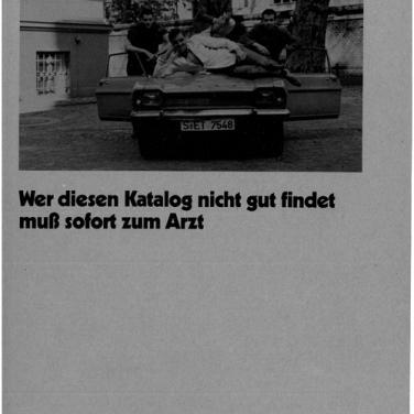 W. Büttner, M. Kippenberger, A. Oehlen, M. Oehlen Wer diesen Katalog nicht gut findet muss sofort zum Arzt, 1983