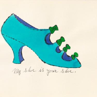 Ralph Pomeroy und Andy Warhol, À la recherche du shoe perdu, 1955, Offsetdruck nach Abklatsch-Tuschezeichnung, handkoloriert, 24,8 x 34,9 cm Foto: Haydar Koyupinar © 2013 The Andy Warhol Foundation for the Visual Arts, Inc. / Artists Rights Society (ARS), New York