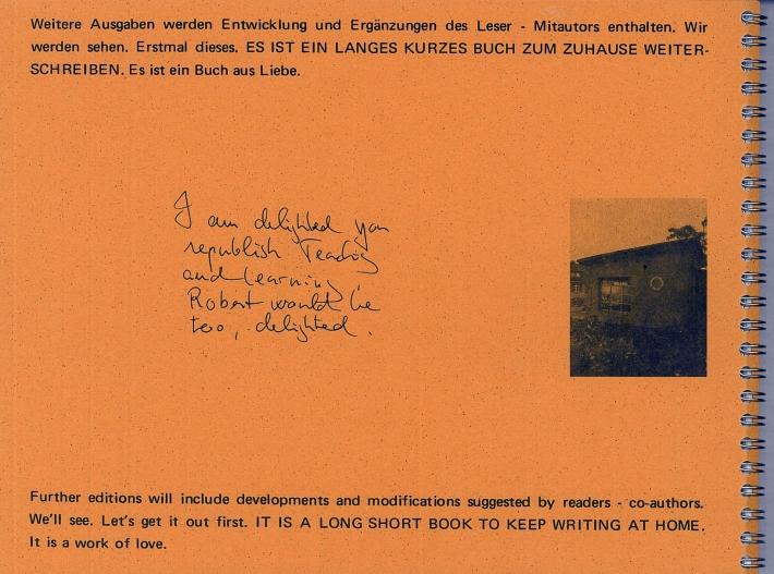 Rückseite: Robert Filliou: Lehren und Lernen als Auffuehrungskuenste (1970/2014)