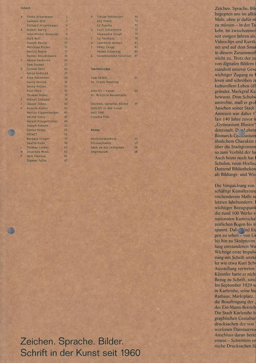 Ausstellungskatalog | Zeichen. Sprache. Bilder. Schrift in der Kunst seit 1960 (Städtische Galerie Karlsruhe 2013/2014)
