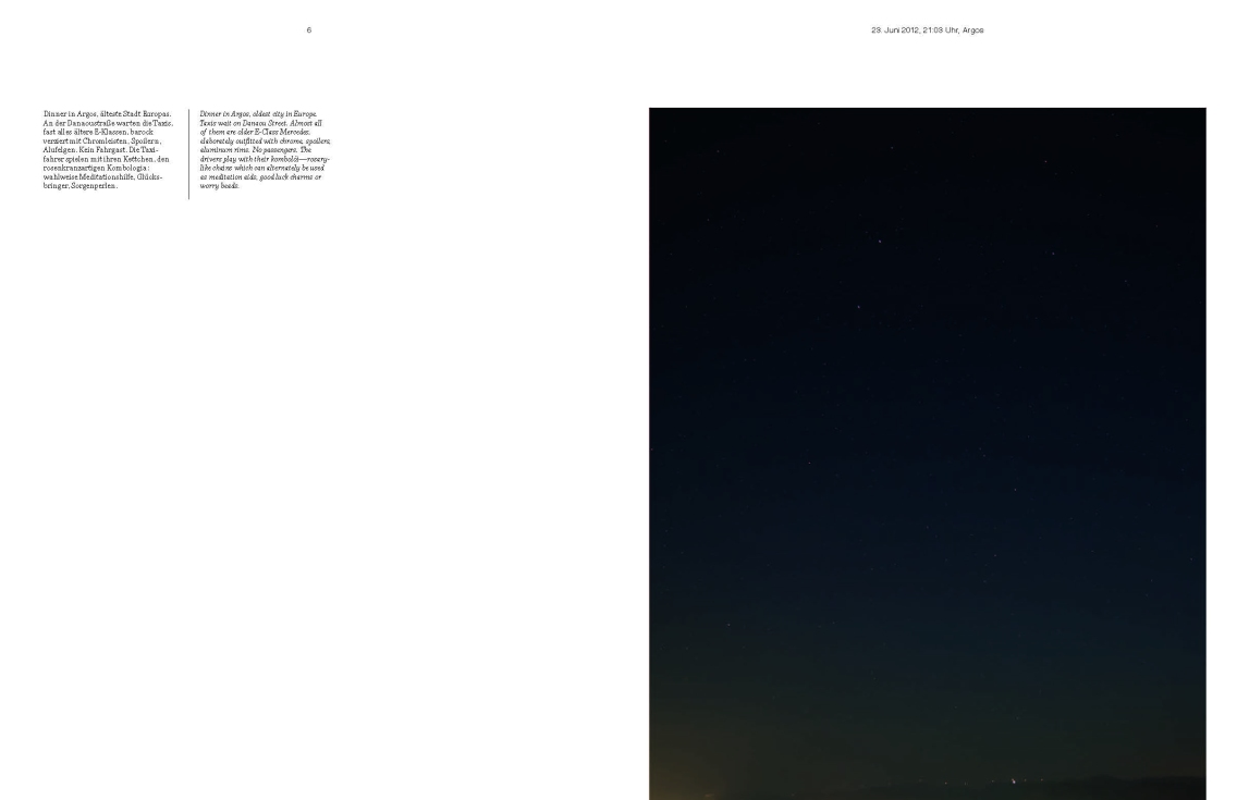 Doppelseite aus / Doublepages from Sven Johne: Where the sky is darkest, the stars are brightest. S. / pp. 6-7.