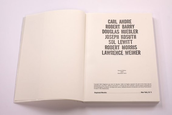 CARL ANDRE ROBERT BARRY DOUGLAS HUEBLER JOSEPH KOSUTH SOL LEWITT ROBERT MORRIS LAWRENCE WEINER [also known as the 'Xerox Book'], Roma Publications 2015